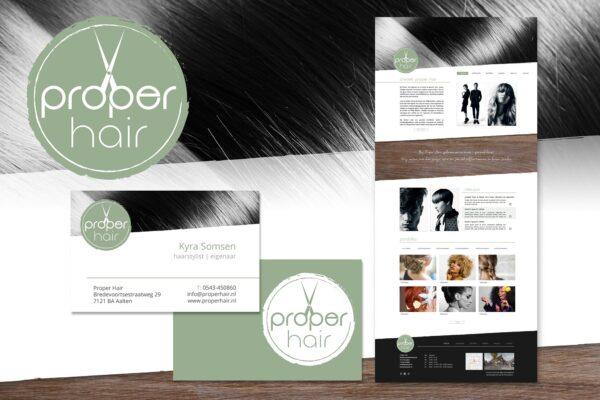 Proper Hair | logo, huisstijl, website